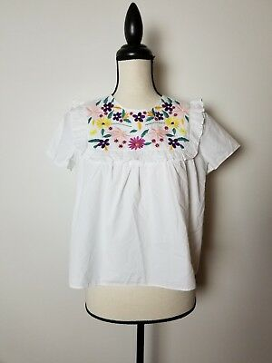New Zara Top Small Trafaluc Collection White Embroided Flower Front