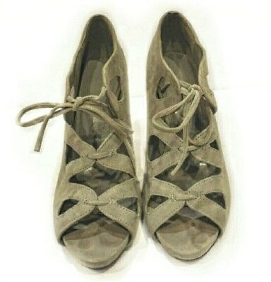 Aldo Gray Suede Leather Gladiator Style Lace-up Heels Womens 9-5m