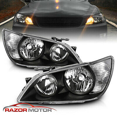 2001-2005 Factory Black Headlight Assembly Pair for Lexus IS300 Left-Right