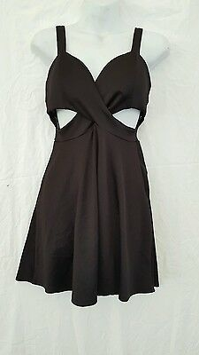 WET SEAL SEXY SHORT BLACK DRESS WITH CUTOUTS SIZE  MEDIUM 34 BUST