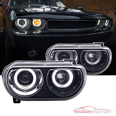 2008-2014 Black Dual LED Halo Projector Headlights Pair For Dodge Challenger