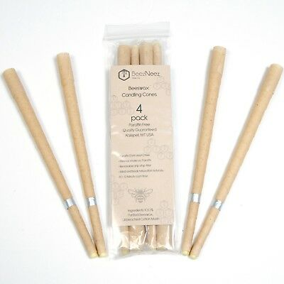 BeezNeez Wax Co- 4 pack Ear Wax Removal Candles BeesWax Hollow Candle Cones