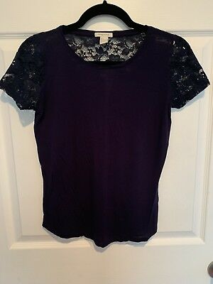 Forever 21 Modal And Lace Tee NavySmall