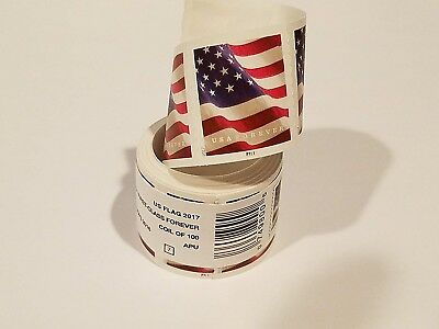 100 USPS Forever Postage Stamps  1 roll US FLAG  Free shipping