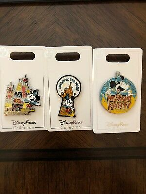 Disney Mickey Mouse 90th Birthday Party Set Of 3 Pins NEW