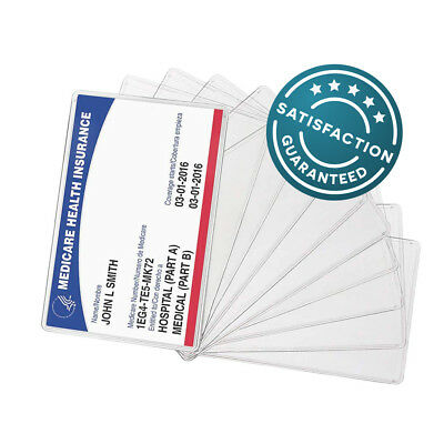 10-PACK New Medicare Card Holder Protector Sleeve Clear 6 Mil Wallet Size