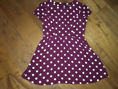 Topshop Burgandy Polkadot Dress Size 16 As Seen On Kate Middleton