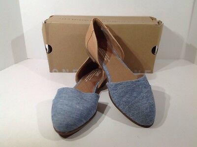 TOMS Jutti Dorsay Womens Size 7 Honey LeatherBlue Chambray Shoes X14-1786