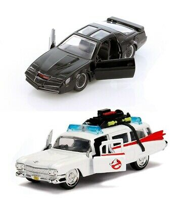 set of 2 Jada 132 Scale Knight Rider K-I-T-T - Ghostbusters Ecto-1 Diecast Car