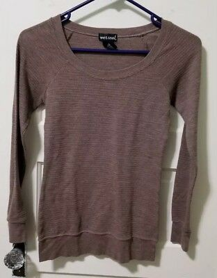 Wet Seal STRETCH Thermal Shirt Top sz S Small Light Brown Taupe Long Sleeve  EUC