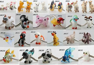 1pcs MURANO GLASS BEAD LAMPWORK Fit European Charm Bracelet lovely Animal