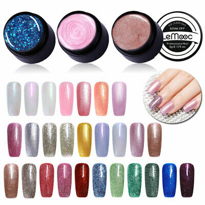 SEQUINS GLITZER GEL NAGELLACK ROSA SILBER SOAK OFF UV LED GEL POLISH MANICURE