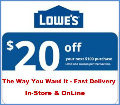 1x Lowes 20 off 100 Getcoupon Fast Now