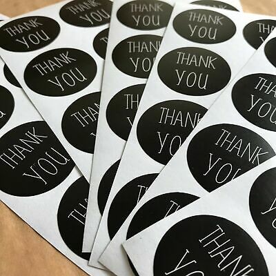 50 Black And White Thank You Stickers