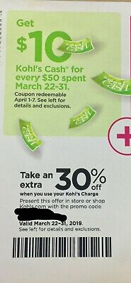 Kohls  30 Off Coupon code valid 32219 - 33119 - Extras