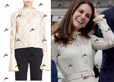 SEE BY CHLOE POINTELLE KNIT BELL LACE CROCHET KATE MIDDLETON SWEATER 10 12 14 L