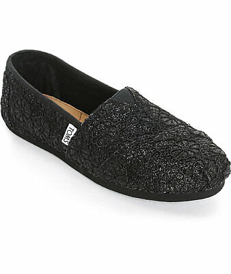 TOMS Womens Shoes Slip Ons Classic Black Crochet Glitter US Shoes Womens Size 6