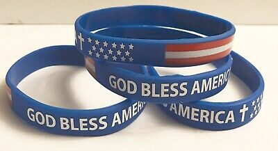 12 God Bless America Silicone Bracelets - For Favors Gifts 4th Of July