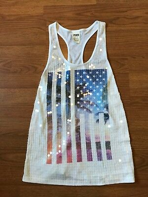 Victorias Secret PINK USA FLAG FOURTH OF JULY TANK TOP SEQUIN WHITE SIZE XS