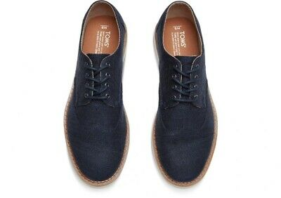 TOMS Mens Oxfords Navy Cotton Lace Up Casual Shoes Mens US Shoe Size 8 New