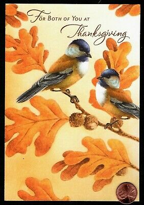 Thanksgiving Birds Acorn Tree Leaves Nuts - Thanksgiving Greeting Card - NEW