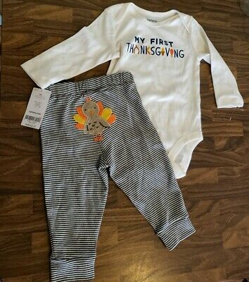 NWT Carters My First Thanksgiving Outfit Striped Turkey Pants 2Pcs Unisex baby