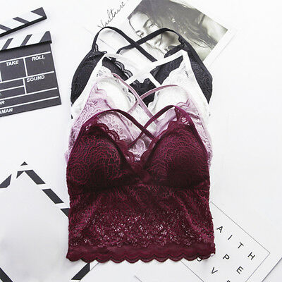 WOMEN FLORAL SHEER LACE TRIANGLE BRALETTE WIRE FREE BRA TOP STRAPPY LINGERIE BCB