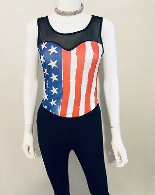 Womens Bodysuit Top Sexy Fourth of July Sheer One Piece NWT