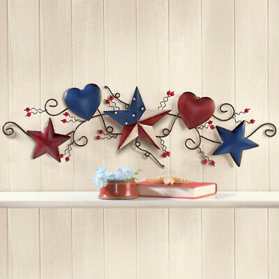 Rustic Fourth of July Patriotic Wall Art Metal Easy Hanging Stars and Stripes