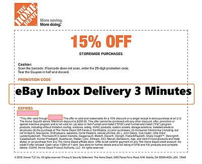 ONE 1x Home Depot 15 OFF Coupon -Instore ONLY Save up to 200 -Very-Fast-3min-