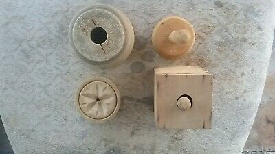 2 antique primitive butter molds geometric design with handle