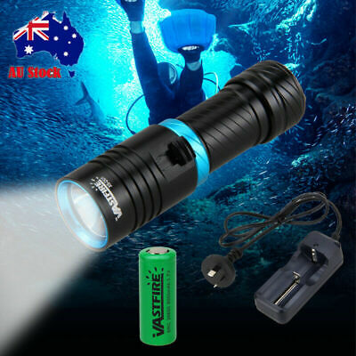 Underwater 100m 10000LM T6 LED Diving Scuba Flashlight Torch Light 26650-Charger