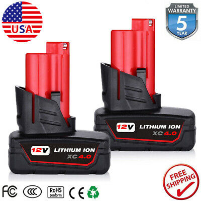 2x for Milwaukee M12 12 Volt XC 6-0 Extended Capacity Battery 48-11-2460 5-0AH
