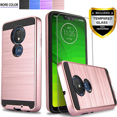 For Motorola Moto G7 Plus Play Optimo Phone Case Cover -Tempered Glass Protector