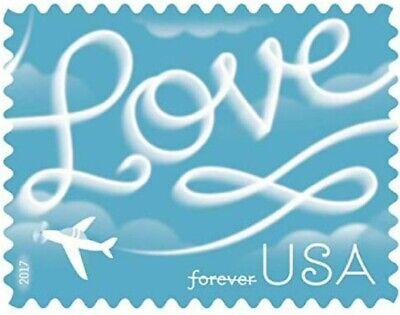 100 USPS 2017 Love Skywriting Forever Stamps- First Class Postage Stamps