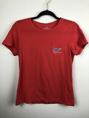 Womens Vineyard Vines Whale With Stars Pocket Tee - Fourth Of July Sz Small