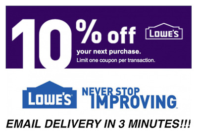 THREE 3X Lowes 10 OFF Promotion Discount - In storeonline - Fast Delivery