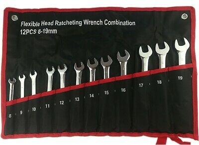 12PCS 8-19mm Metric Flexible Head Ratcheting Wrench Combination Spanner Tool Set