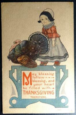 Postcard - May Blessings Follow Heart Filled with Thanksgiving Girl Turkey 1915
