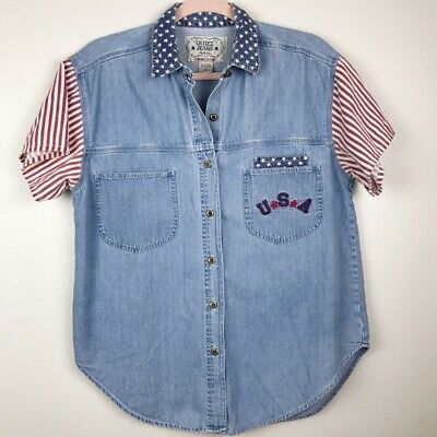 Quiz Jeans USA Womens Fourth of July Chambray Top Vintage Style Button Down S