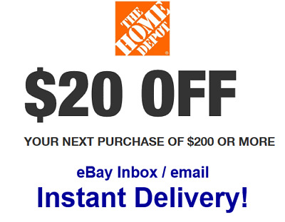 Home Depot 20 OFF 200 Promo-1Coupon In-store Only - FAST Delivery