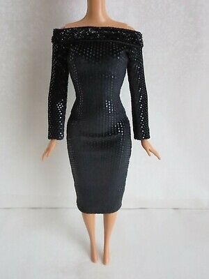 Black dress for doll Handmade Clothes for doll 11-11-5-12in
