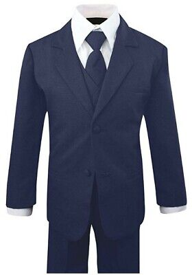 Boys Formal Navy Suit 5 Pieces Set Toddler Size XL to 14