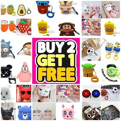 AirPods Cute 3D Cartoon Silicone Case cover For Airpod 1 - 2 Charging Case Best