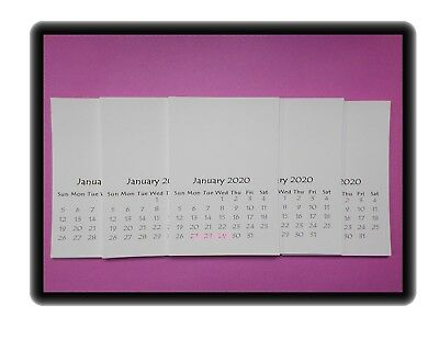 2020 Blank Stamping Calendars DIY Stampable Photos Craft 3-5x5 Lot of 5