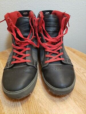 Supra Muska 001 Mens Black Red Canvas High Top Lace Up Sneakers Shoes Sz 11