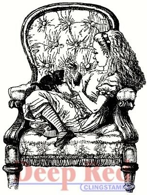 Deep Red Stamps Alice in Armchair Rubber Cling Stamp - New