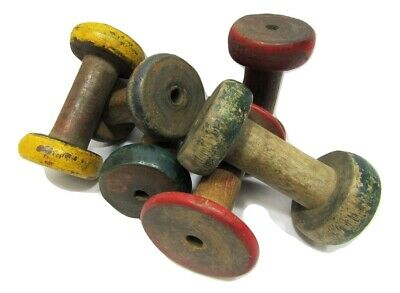 Lot of 6 Antique Vintage 3 Painted Wooden Industrial Textile Bobbins Spools