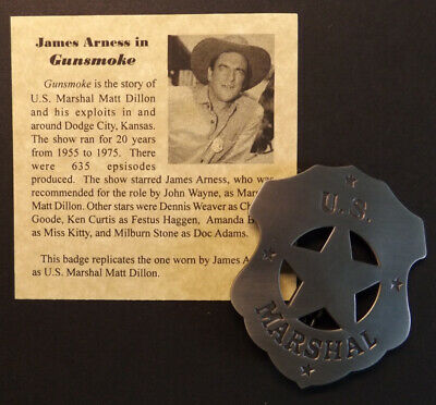 U-S- Marshal Old West Badge Gunsmoke James Arness western silver