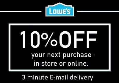 ONE 1X 10 OFF LOWES PRINTABLE 1Coupons - Lowes In storeonline FAST Delivery